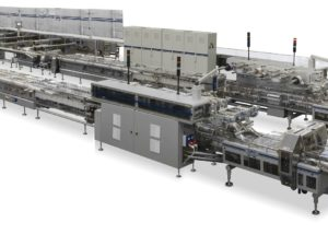 Complete and fully automatic system for high speed packing of dry and sandwich biscuits on pile